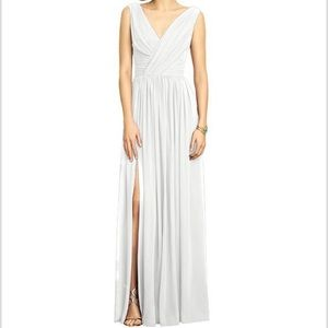Dessy Collection Lux Chiffon Grecian White Gown